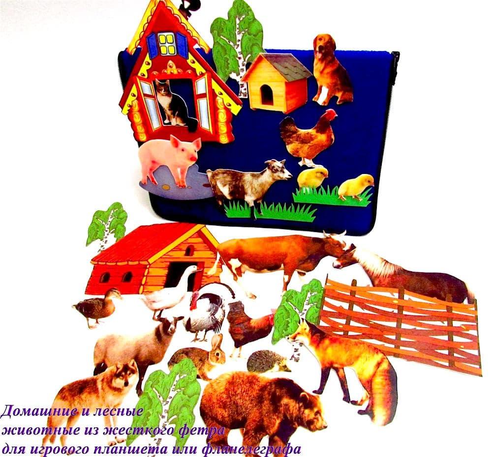 Домашние и лесные животные. Печать на фетре для фланелеграфа